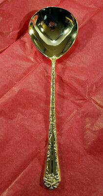 ⭐ WM Rogers & Son Gold Plated Silverware Serving Spoon Enchanted Rose Pattern ⭐