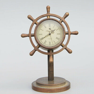 Collectable China Handwork Copper Carve Steering Wheel Shape Clock Unique Statue