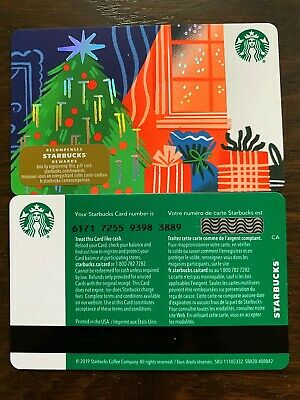 """Canada Series Starbucks """"CHRISTMAS TREE 2019"""" Gift Card WITH BLACK MAG STRIPE"""
