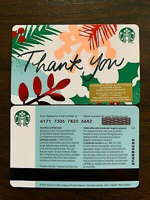 """Canada Series Starbucks """"THANK YOU 2019"""" Gift Card WITH BLACK MAG STRIPE"""