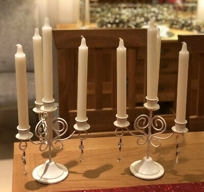 Laura Ashley Candelabra x 2 - Cream Metal With Droplets - GORGEOUS!