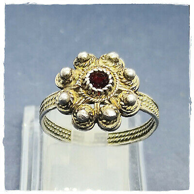 ** RED STONE ** ancient SILVER fertility ROMAN  or BYZANTINE RING ! 3,13g