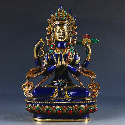 Exquisite Cloisonne Handwork Carved Four-armed Avalokitesvara Bidhisattva Statue