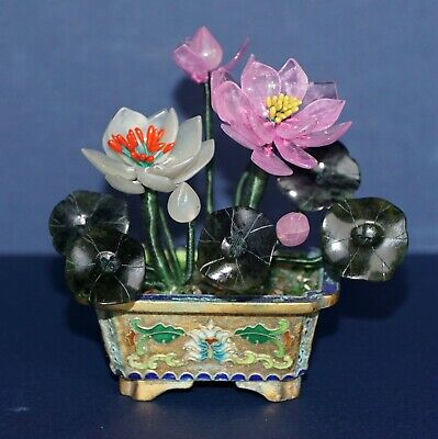 Old Item~Pink Quartz~Green Jade Lotus Tree~Gold Gilt ~Cloisonne Base
