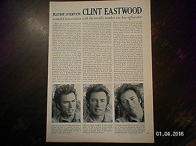 Playboy  Interview Clint Eastwood From 1960'S Magazine.#1 Box-Office Star