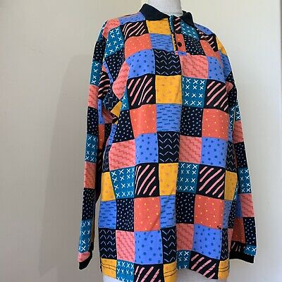 KEN DONE Size M Patchwork Print Polo Rugby Style Shirt Cotton/Poly Unisex 1980s