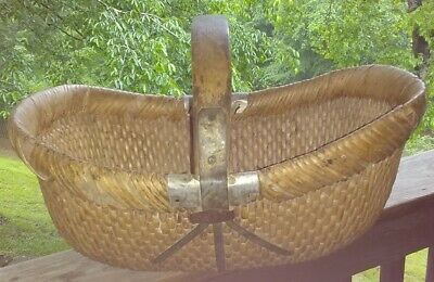 Antique Chinese Willow Woven Basket with Metal Strapping