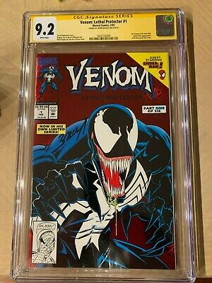 VENOM 1 LETHAL PROTECTOR CGC 9.2 SS SIGNED BY MARK BAGLEY 1st Own Title