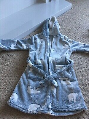 Girls grey and polar bear dressing gown brand new aged 8 to 9 years new