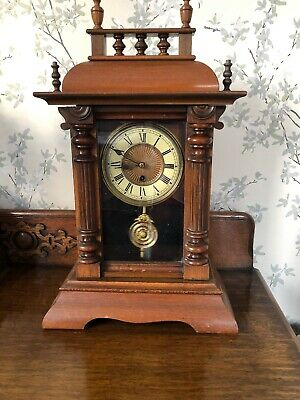 Stunning Victorian Large Ornate Wood Cased Mantle Clock. Working Order