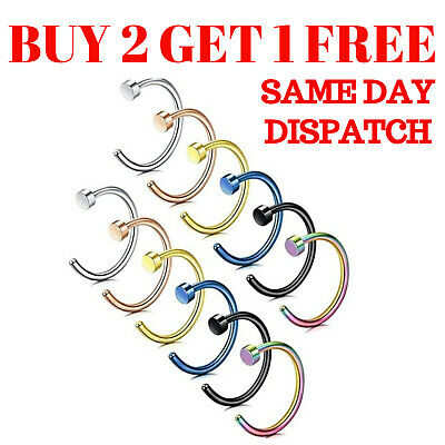 Nose Ring Fake Nose Rings Hoop Lip Small Thin Piercing Surgical Steel Open