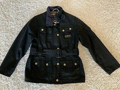 Girls Barbour Black Jacket Size M 8/9 Years