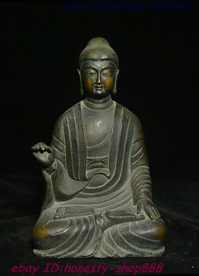 Collect Old Chinese Buddhsim Temple Bronze Ancient Amitabha Buddha Monk Statue