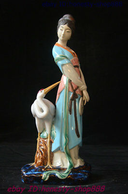 Chinese Porcelain Red-Crowned Crane Beautiful Woman Beauty Belle Statue 13 inch