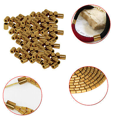 3.5mm Gold Bugle Beads Toggle End Cord Stopper Seed For Jewelry Making Necklaces