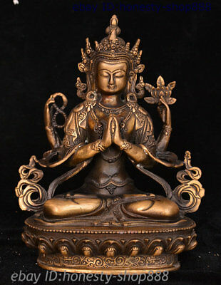Old China Tibetan Buddhism Copper Bronze 4 Arms Chenrezig Goddess Buddha Statue