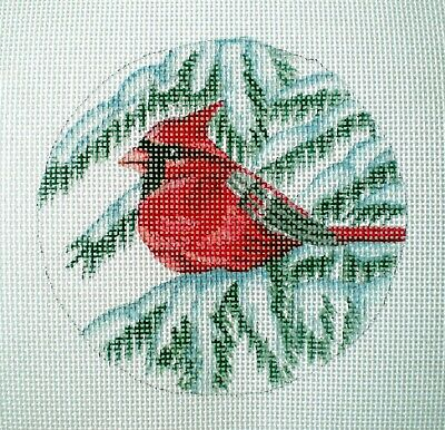 """Handpainted Needlepoint Canvas 4"""" Cardinal 18ct Mary Tussey"""