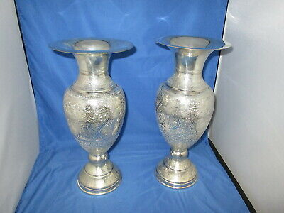 Pair Large .900 Silver Hand Chased Egyptian Vases Egypt Sterling 1104 Grams Box