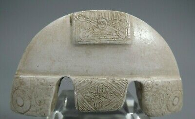 China Chinese White Jade Carved & Incised Stylized Form  Amulet Pendant 20th c.