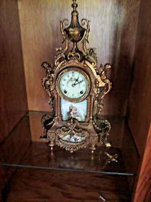 Antique Brass Cherub French Clock,Chimes on the hour & half hr ,