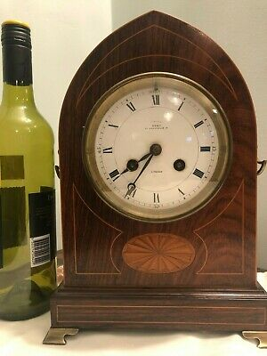 Mantle Clock Edwardian inlaid rosewood lancet form, circular white enamel dial
