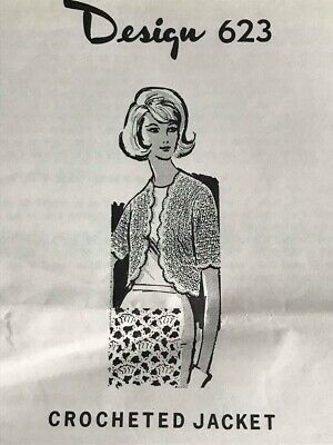 Vintage Laura Wheeler Crocheted Short Sleeve Jacket Shrug Pattern Size 32-46