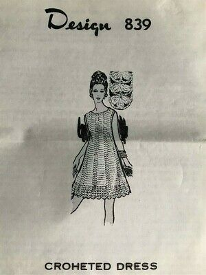 Vintage Laura Wheeler Crocheted Knee Length Dress Pattern 839 Sz. 10-16