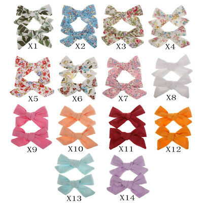 Girl Print Flower Hair Clips Bow Hair Headwear Children Cute Cotton Hairpins e