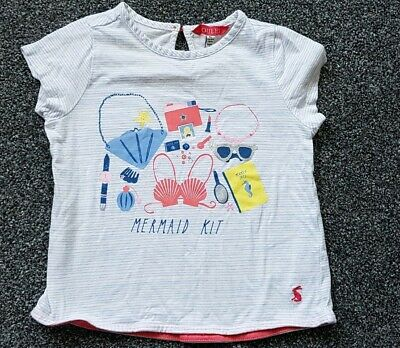 Girls Joules T Shirt White With Blue Stripes Age 5