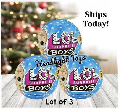 Lot of 3 Authentic LOL Surprise BOYS Doll Series 2 Big Brother Blue Ball Glitter