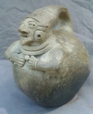 Ancient Pre-columbian Ceremonial Human Effigy Urn Mayan Native American Pottery