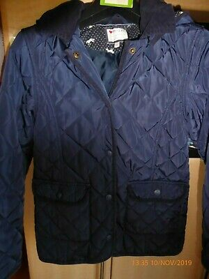 M&S girl's navy blue quilted hooded anorak/ jacket, aged 7-8 years