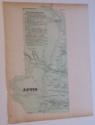Originl 1873 Hand Colord Map,Antis Township,Blair County,Pa,Railroads,Businesses