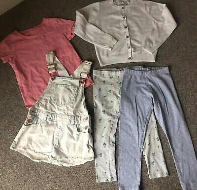 Girls Next Bundle 5-6 Years. Leggings Cardigan Tshirt & Short Dungerees RS