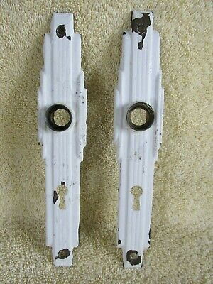 Art Deco Door Knob Backplates, Skyscraper Design, Pair, Old House Salvage