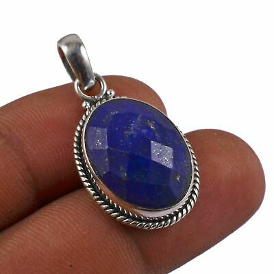 """Faceted-Lapis Lazuli Solid 925 Sterling Silver Pendant Jewelry 1.4"""" AP-8180"""