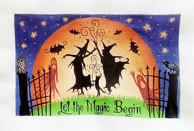 """Beautifully Handpainted Needlepoint Canvas Let the Magic Begin, 8"""" X 13"""""""