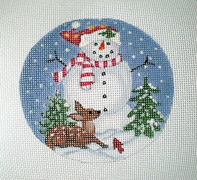 """Handpainted Needlepoint Canvas 4"""" Snowman and Baby Doe 18ct"""