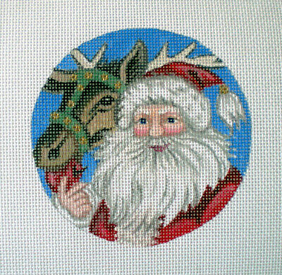 """Handpainted Needlepoint Canvas 4"""" Santa and Reindeer 18ct by Mary Tussey"""
