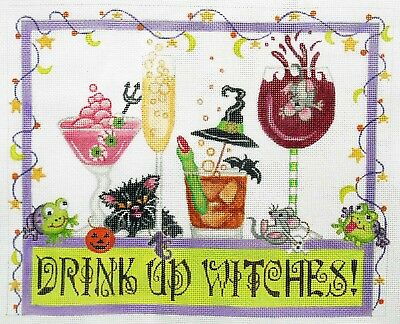 """Beautifully Handpainted Needlepoint Canvas Drink Up Witches, 8.5"""" X 11"""""""
