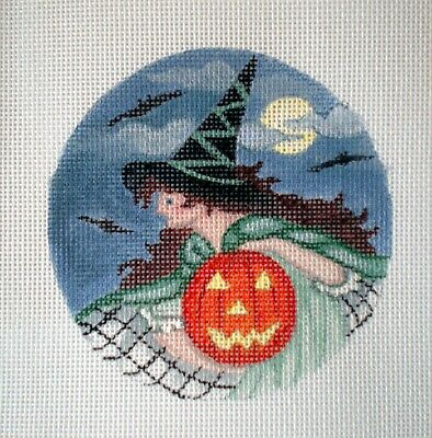 """Handpainted Needlepoint Canvas 4"""" Witches Night Out 18ct by Mary Tussey"""