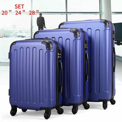 "20"" 24"" 28"" 3 Piece Luggage Set Travel Bag ABS Suitcase w/ TSA Lock Dark Blue"