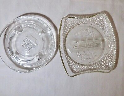 2 Vintage  Ashtrays, Holiday Inn and Pizza Hut - Clear Glass