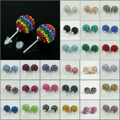 1Pair Sparkle Czech Crystal Round Disco Ball Silver Stud Earrings 6mm 8mm Famale