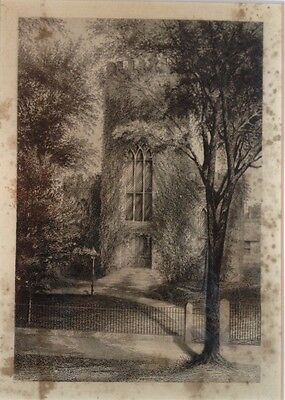19th century etching Gothic Revival Church