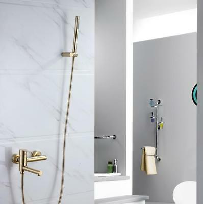 Brass Bathtub Faucet Wall Mount Mixer Tap w/ Hand Shower Hose Kit, Brushed Gold