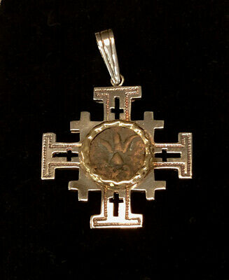 Gold & Silver Jerusalem Cross with Ancient Widow Mite Coin