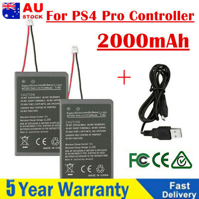 2X 2000mAh Replacement Battery For PS4 Pro Game Controller + USB Charging Cable