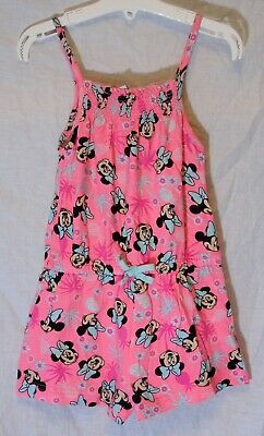 Girls Primark Neon Pink Sparkly Cute Minnie Mouse Shorts Playsuit Age 5-6 Years