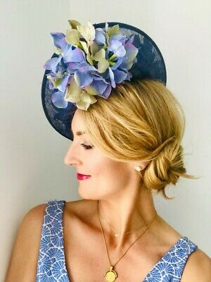 Handmade Statement Large Side Saucer Hat Fascinator Vintage Navy Blue Floral